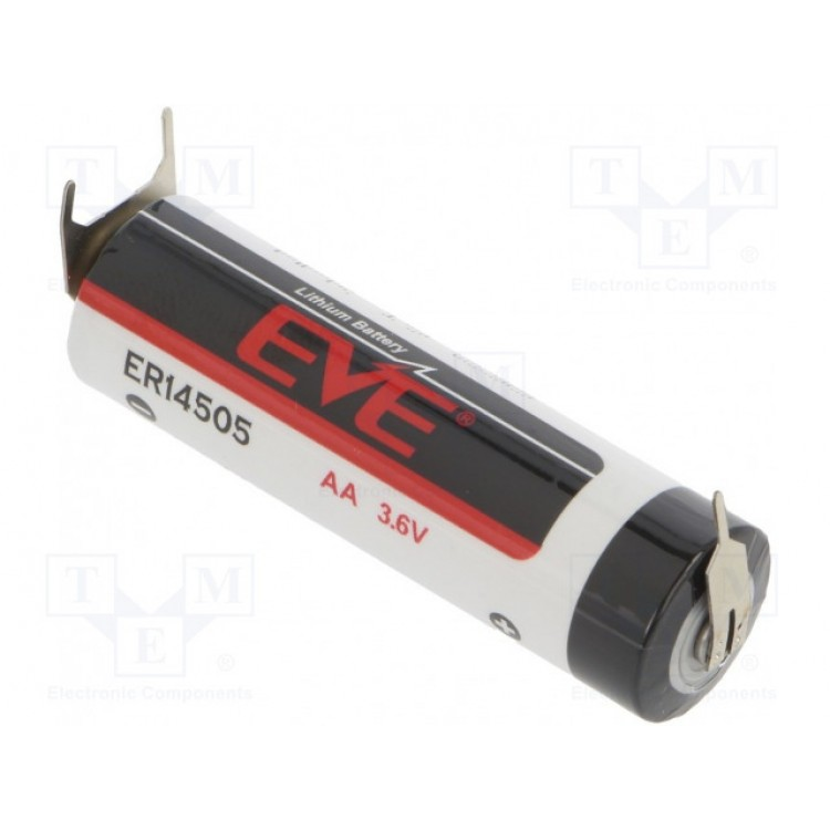 Λιθίου, ER14500, AA, R6, 3.6V, 2400mAh, 3 PINS, POSITIVE POLE 1 PIN, EVE