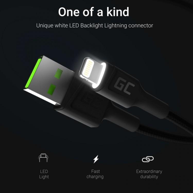 Καλώδιο Green Cell Ray USB-A - Lightning White LED 120cm with support for Apple 2.4A fast charging