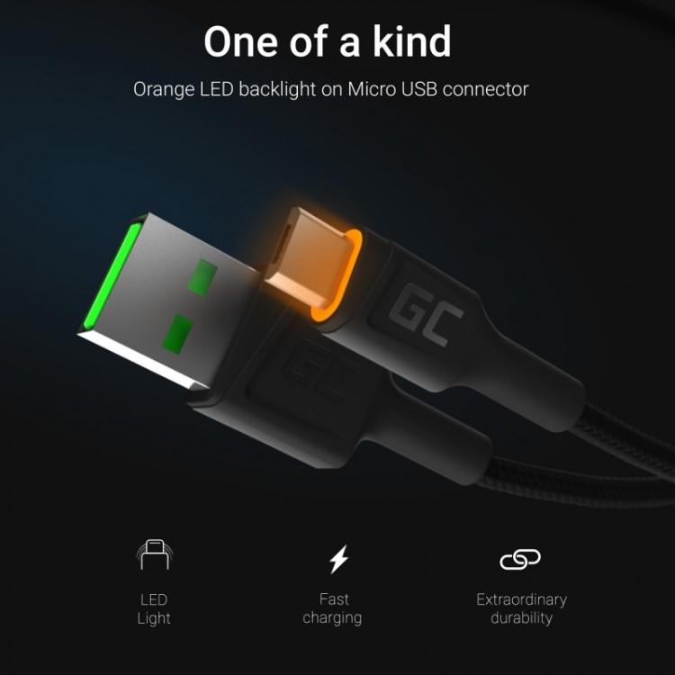 Καλώδιο Green Cell Ray USB-A - microUSB Yellow LED 120cm with support for Ultra Charge QC3.0 fast charging