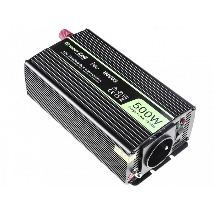Μετατροπέας τάσης Inverter DC-AC  12V DC - 220V AC 500W/1000W Τροποποιημένης ημιτονικής εξόδου