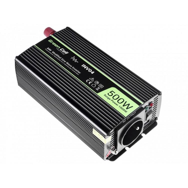 Μετατροπέας τάσης Inverter DC-AC  24V DC - 220V AC 500W/1000W Τροποποιημένης ημιτονικής εξόδου
