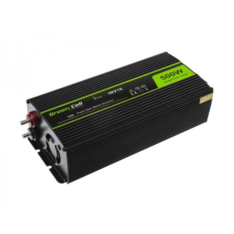 Μετατροπέας τάσης Inverter DC-AC  12V DC - 220V AC 500W/1000W Καθαρής ημιτονικής εξόδου