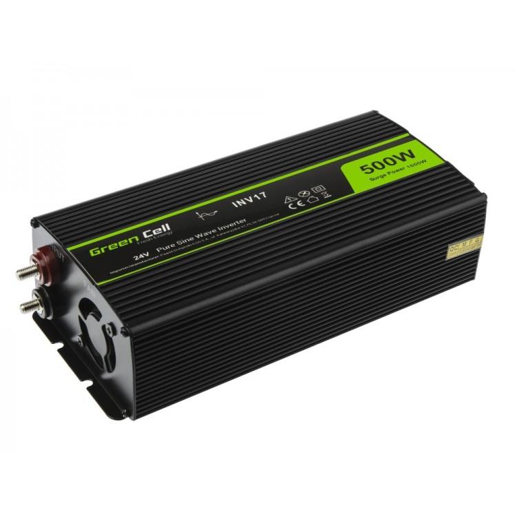 Μετατροπέας τάσης Inverter DC-AC  24V DC - 220V AC 500W/1000W Καθαρής ημιτονικής εξόδου