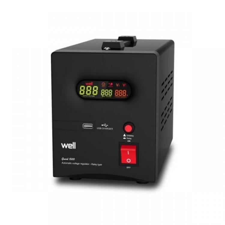 AVR-2000VA WELL ΨΗΦΙΑΚΟ με USB έξοδο GUARD LCD Display Black