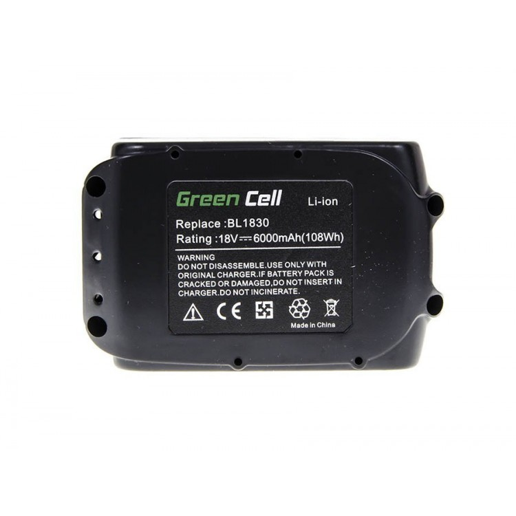 BW Power Tool Battery BL1830 BL1860 for Makita BDF450SFE BTL061RF BTW450RFE 6000mAh